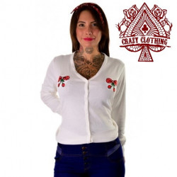 Cardigan Crazy Clothing Blanc Cerise