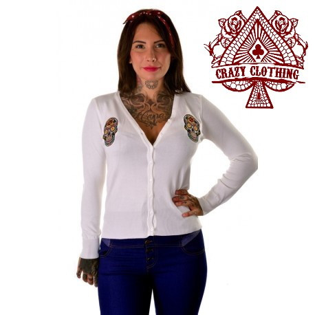 Cardigan Crazy Clothing Blanc Skull Mex