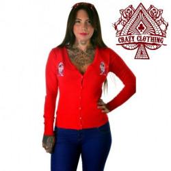 Cardigan Crazy Clothing Rouge Muerte