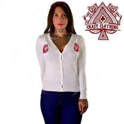 Cardigan Crazy Clothing Blanc Muerte