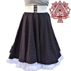 Jupe Swing Crazy Clothing noir pois blanc