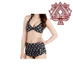 MAILLOT PIN UP NOIR POIS BLANC