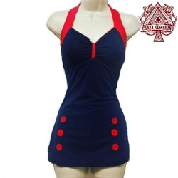MAILLOT PIN UP Marine Rouge