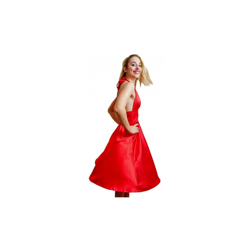 Robe Marilyn Crazy Clothing Rouge Satin Crazy Shop Hommes Femmes Enfants 50 S 60 S Retro Vintage Pin Up Glam Rock