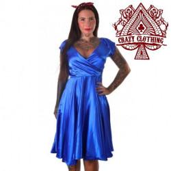 Robe Cache-coeur Bleue Satin