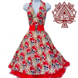 Robe Marilyn Crazy Clothing Blanche skull roses rouge