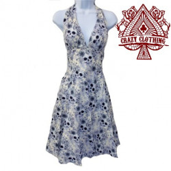 Robe Marilyn Crazy Clothing Blanche skull roses bleues