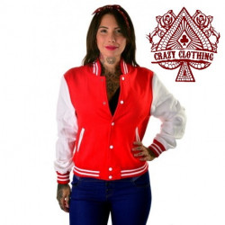 Teddy Femme Rouge et Blanc Coton Epais