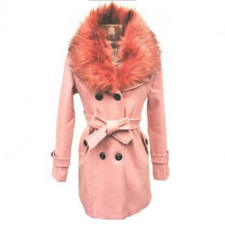 Manteau Col Fourure Rose
