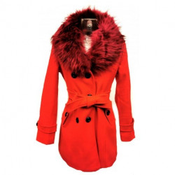 Manteau Col Fourure Rouge