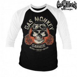 T-Shirt 3/4 Gas Monkey Garage SKULL BASEBALL