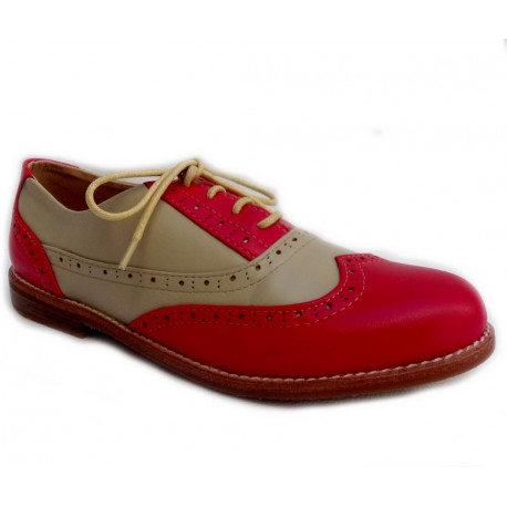 Chaussures Style Bowling Cuir Red F