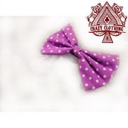Noeud Pour Cheveux Violet Pois Blanc