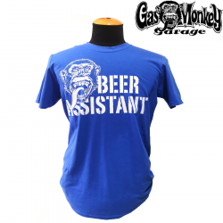 T-shirt Gas Monkey Beer Assistant Blue