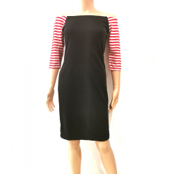 Robe Noir Manches 3/4 Rayure Rouge Blanc