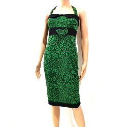 Robe Dos Nu Léopard Vert