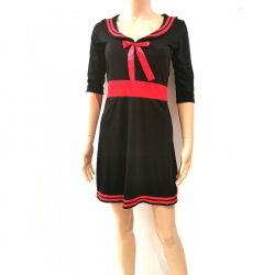 Robe Manches 3/4 Noir Rouge