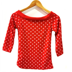 Manches 3/4 Rouge Pois Blanc
