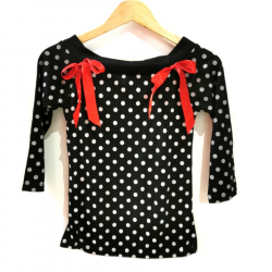 Manches 3/4 Noir Pois Noeud Rouge